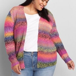 Lane Bryant Spacedye Rainbow Overpiece Cardigan